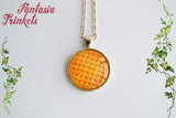 Eleven's Eggo Waffle Photo Glass Pendant Necklace - Stranger Things Jewelry