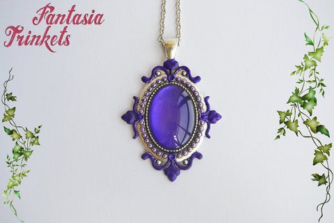 Royal Purple Glass Cabochon on a Handpainted Silver Pendant Necklace - Medieval Fantasy Jewelry