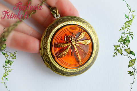 Dragonfly in Amber Large Bronze Locket (wedding vows inside) Pendant Necklace - Outlander Jewelry