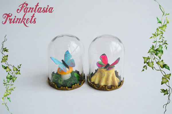 Tiny Butterfly in a Glass Dome Miniature Terrarium Ornament or Pendant Necklace - Nature Lover Statement Jewelry