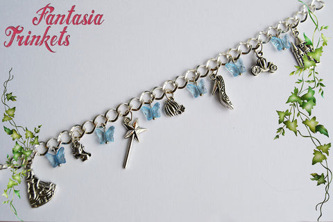 Cinderella Charm Bracelet with Blue Butterflies - Fairy Tale Princess Jewelry