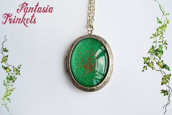 Merlin's Talisman - The Dragon's Charm of Making - Handpainted Emerald Large Medieval Fantasy Locket with Dragon inside - Excalibur inspired