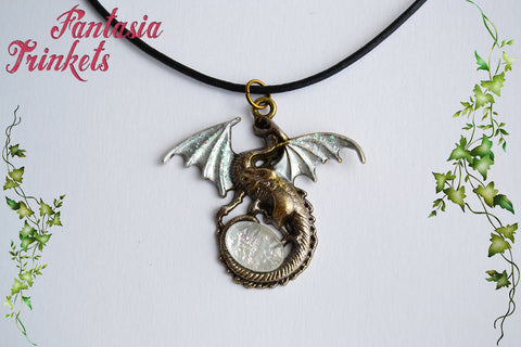 Bronze Dragon with Iridescent Silver Wings and Glittery Glass Gem Egg - Handpainted Pendant Necklace - Epic Medieval Fantasy Jewelry