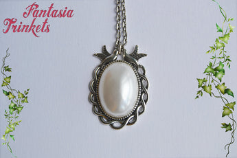 Pearl Cabochon on an Antique Silver Pendant Necklace - Classic Vintage Nature inspired Jewelry