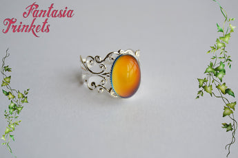 Mood Ring - Color Changing Stone Adjustable Silver Filigree Ring - Mood Jewelry