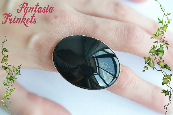 Witch Ring - Huge Black Glass Gem on an Adjustable Antique Silver Ring - Fantasy Jewelry