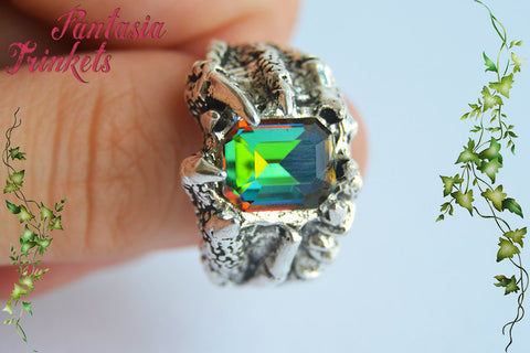 Arkenstone Dragon Claw Ring - Rainbow Glass Gem - Unisex Antique Silver Adjustable Ring - Tolkien Fantasy Jewelry