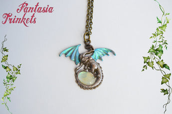 Pastel Dragon with Color Shifting Wings and Glass Gem Egg Pendant Necklace