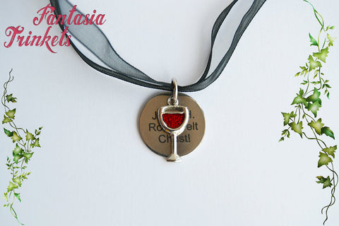 Jesus H. Roosevelt Christ! Tag + Glass of Wine Charm Pendant Necklace -Outlander Jewelry
