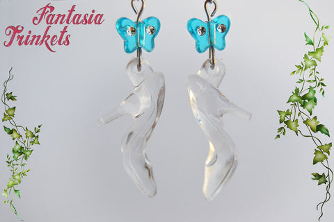 Cinderella Glass Slippers and Blue Butterflies Dangle Earrings - Fairy Tale Princess Jewelry
