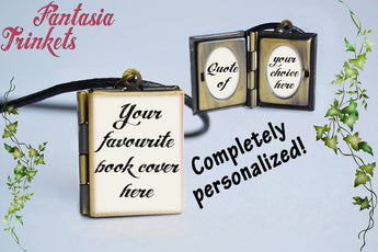 Custom Miniature Book Locket (custom quote inside) Personalized Charm, Keychain or Pendant Necklace