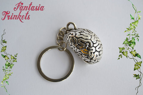 Anatomical Brain - Full 3D Antique Silver Realistic Human Brain Organ Charm Keychain or Pendant Necklace