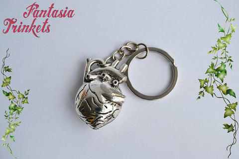 Large Anatomical Heart - Full 3D Antique Silver Realistic Human Heart Charm Keychain or Pendant Necklace