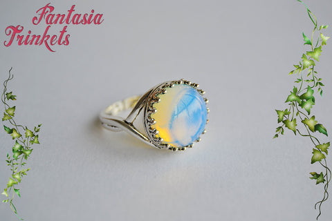 Opalite Ring - Opalescent Iridescent Stone on an Adjustable Antique Silver Crown Edge Ring