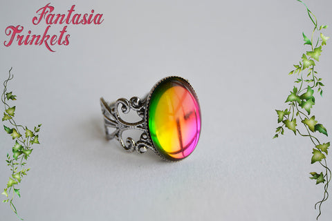 Rainbow Color Shifting Glass Gem on an Adjustable Dark Silver Filigree Ring - Fantasy Jewelry