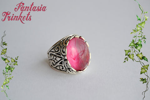Misty Pink Glass Cabochon on an Adjustable Antique Silver Ring - Medieval Fantasy Jewelry