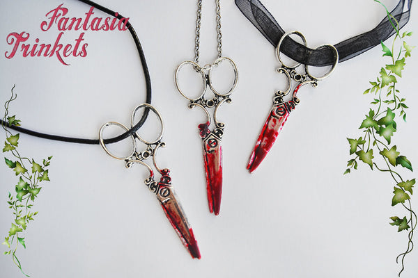 Bloody Scissors Pendant Necklace - Handpainted Blood Stained Murder Weapon - Gothic Fantasy Macabre Halloween Jewelry