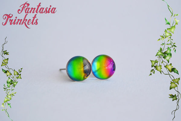 Rainbow Crystal Ball Earrings - Real Glass Orbs with Gorgeous Color Shifting Effect - Stainless Steel Studs / Posts - Fantasy Jewelry