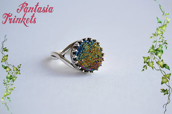Rainbow Druzy Ring - Titanium Plated Real Druzy Quartz Stone on an Adjustable Crown Edge Antique Silver Tone Ring