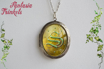 Slytherin Locket (R.A.B. note inside) Voldemort's Horcrux Pendant Necklace - Harry Potter Jewelry