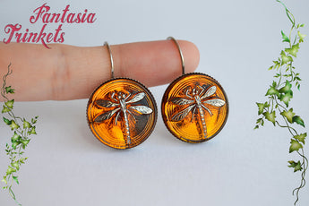 Dragonfly in Amber (Czech Glass) Stainless Steel Earrings - Outlander Jewelry