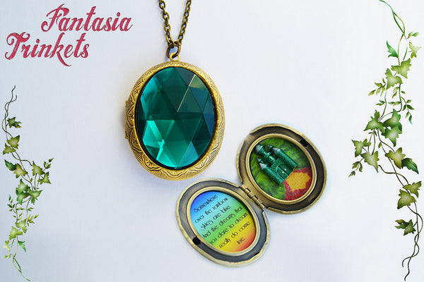 Emerald City Locket - Green Gem + Over the Rainbow + Illustration - The Wizard of Oz Jewelry