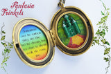 Emerald City Locket - Large Faceted Green Gem + Over the Rainbow Lyrics + Yellow Brick Road - The Wizard of Oz inspired
