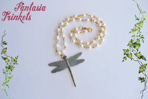 Dragonfly and Pearls Vintage Style Necklace - Outlander Jewelry