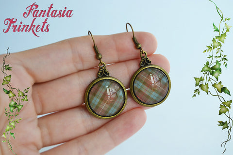 Fraser Tartan Photo Glass Vintage Bronze Dangle Hook Earrings - Outlander Jewelry