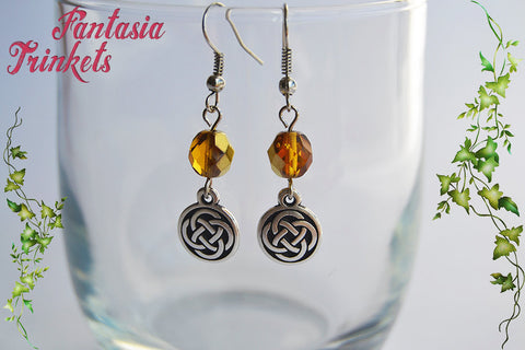 Celtic Knots and Amber Czech Glass Beads Hook Earrings - Outlander Jewelry