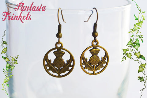 Scottish Thistle Flower Dangle & Drop Bronze Tone Brass Hook Earrings - Outlander Jewelry
