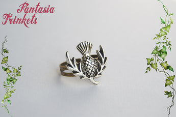 SALE Thistle Ring - Antique Silver Scottish Flower on Adjustable Brass Ring - Outlander Jewelry