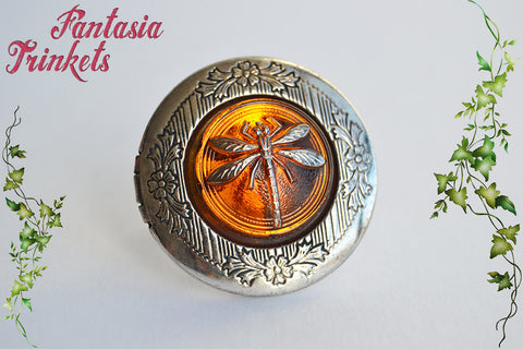 Dragonfly in Amber Locket Ring (wedding vows inside) Adjustable Band - Outlander Jewelry