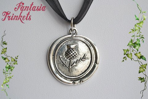 Thistle Pendant - Antique Silver Scottish Flower Wax Seal Keychain or Necklace - Outlander inspired