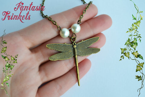 Dragonfly and Pearls - Bronze Pendant Necklace - Outlander Jewelry