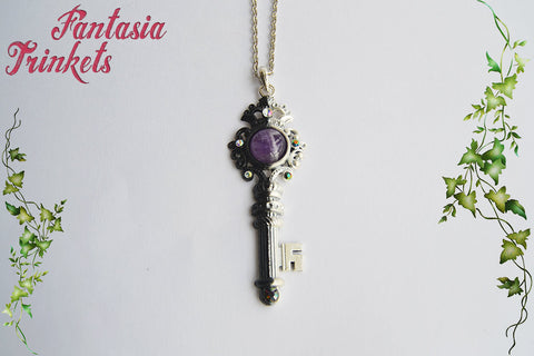 Key to the Dark Crystal Castle - Handpainted Black and White Key with a Real Amethyst Pendant Necklace - Fantasy Jewelry