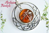 Dragonfly in Amber in Silver Celtic Circle Pendant Necklace - Outlander Jewelry