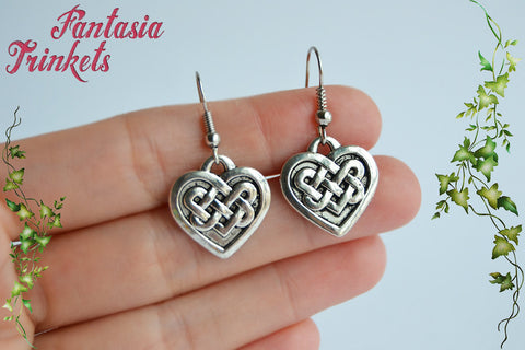 Silver Celtic Knot Heart - Scottish Love Earrings - Outlander Jewelry
