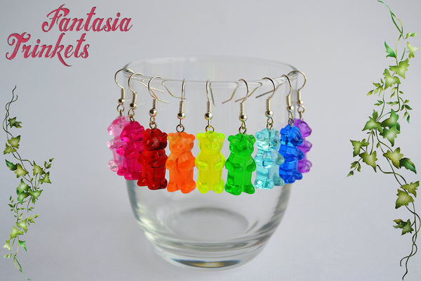 Gummy Bears Dangle Earrings - Steel Hooks -Miniature Food Jelly Sweets Jewelry