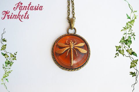 Dragonfly in Amber - Large Czech Glass on Bronze Pendant Necklace  - Outlander Jewelry
