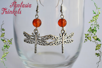 Dragonflies and Amber Earrings - Silver Tone Dangle Hooks with Glass Beads - Outlander Jewelry