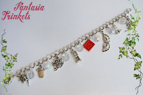 Labyrinth Themed Silver Charm Bracelet with Iridescent Crystal Balls
