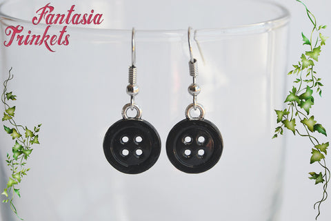 Coraline inspired Black Buttons Handpainted Dangle Earrings - Stainless Steel Hooks