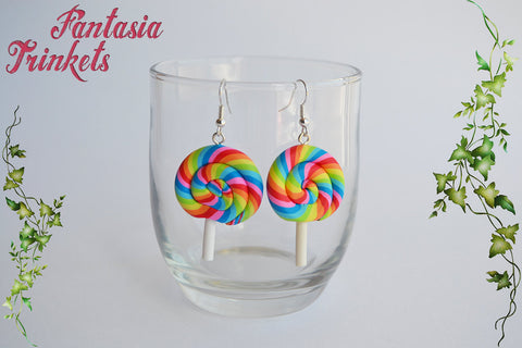 Rainbow Lollipop Dangle Earrings - Colorful Miniature Clay Sweets - Hypoallergenic Stainless Steel Hooks - Miniature Food Jewelry