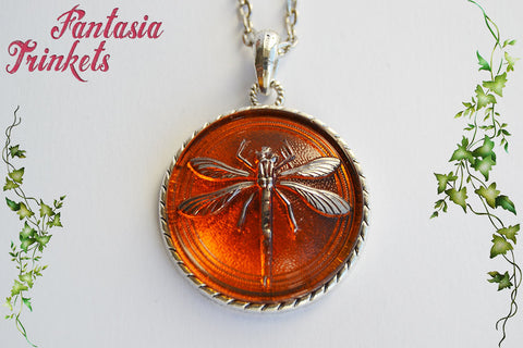 Dragonfly in Amber - Large Czech Glass on Silver Pendant Necklace - Outlander Jewelry