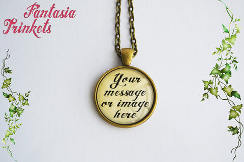 Custom Message or Photo Glass Pendant Necklace - Four finishes to choose from - Completely personalized!