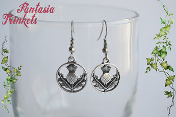 Silver Scottish Thistle Flower Dangle Earrings - Outlander Jewelry