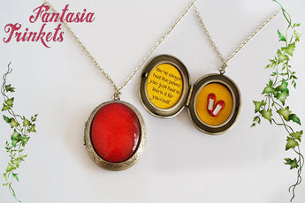 Ruby Slippers Locket - Handpainted Large Glittery Red Glass Gem + Glinda Quote + Yellow Brick Road