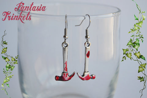 Bloody Hammer Earrings - Handpainted Blood Stained Murder Weapon - Stainless Steel Hooks - Macabre Horror Halloween Jewelry
