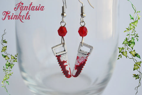 Bloody Saw Earrings - Handpainted Blood Stained Murder Weapon - Stainless Steel Hooks - Macabre Horror Halloween Jewelry